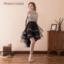 Vivian's свадебные сексуальные черные платья для выпускного вечера Асимметричные короткие спереди длинные платья для выпускного со стразами платья для выпускного вечера