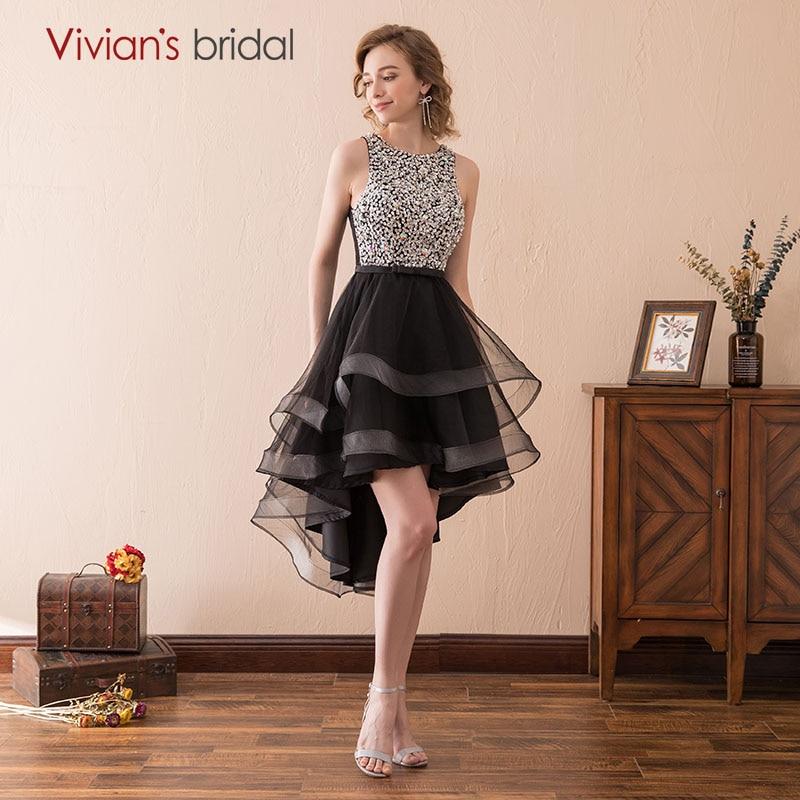 Vivian's Bridal Sexy Black Homecoming Dresses Asymmetrical Short Front Long Back Crystal Prom Dresses Homecoming Dresses