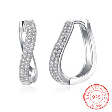 925 Sterling Silver Cubic Zirconia Twist Shape Hoop Earrings For Women Fashion Women Silver Jewelry Accessories (EA102820)(China)