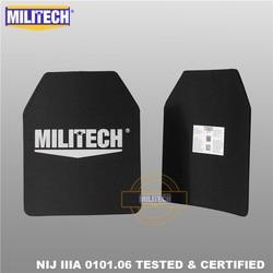MILITECH 10x12 pulgadas par de dos piezas peso Ultra ligero UHMWPE NIJ IIIA 3A probado placa balística mochila a prueba de balas panel