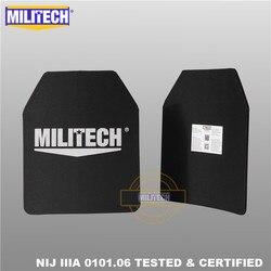 MILITECH 10x12 zoll Zwei PCs Paar Ultra Licht Gewicht UHMWPE NIJ IIIA 3A Getestet Ballistischen PE Platte Kugelsichere rucksack Panel