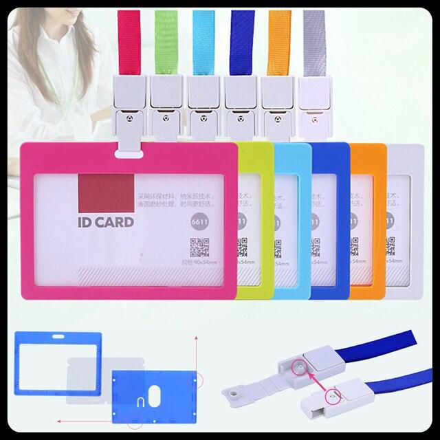 10 pcslot lanyard business id badge card holder horizontal card storage company school office