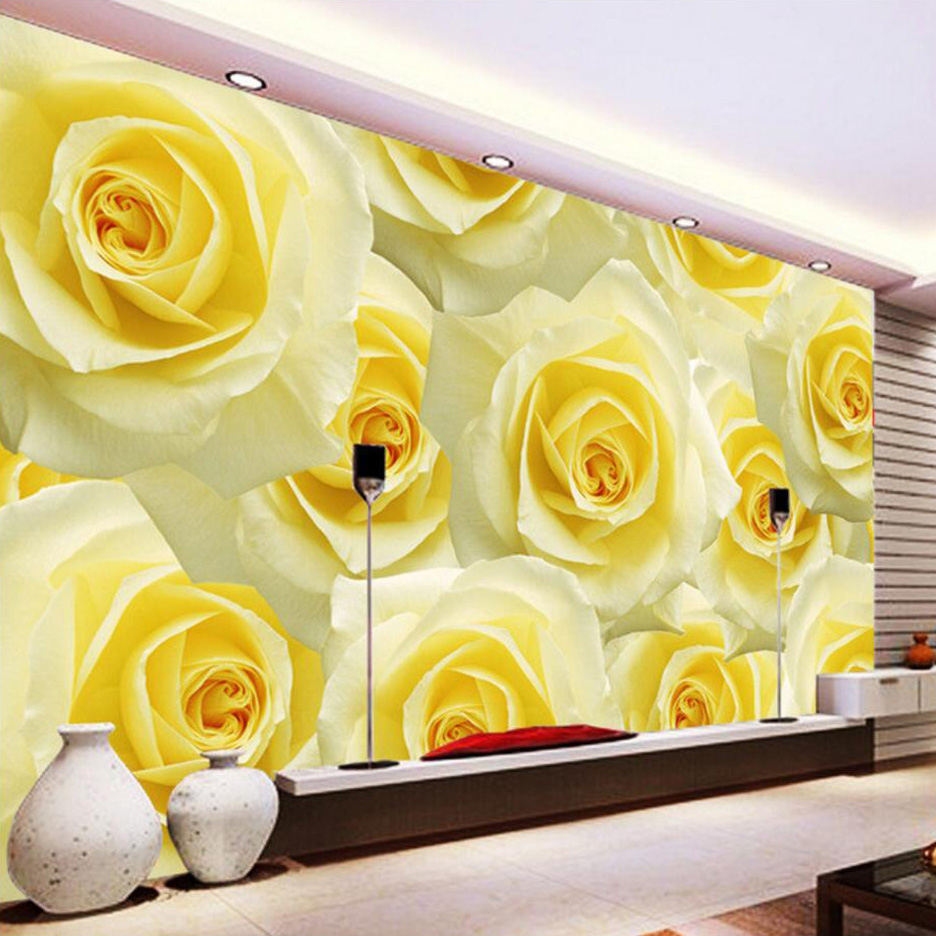 Custom Photo Wall Mural Wallpaper Modern Romantic Yellow Roses Flower Living Room TV Wall Painting Flash Cloth Wallpaper Bedroom custom photo wallpaper 3d stereoscopic cave seascape sunrise tv background modern mural wallpaper living room bedroom wall art