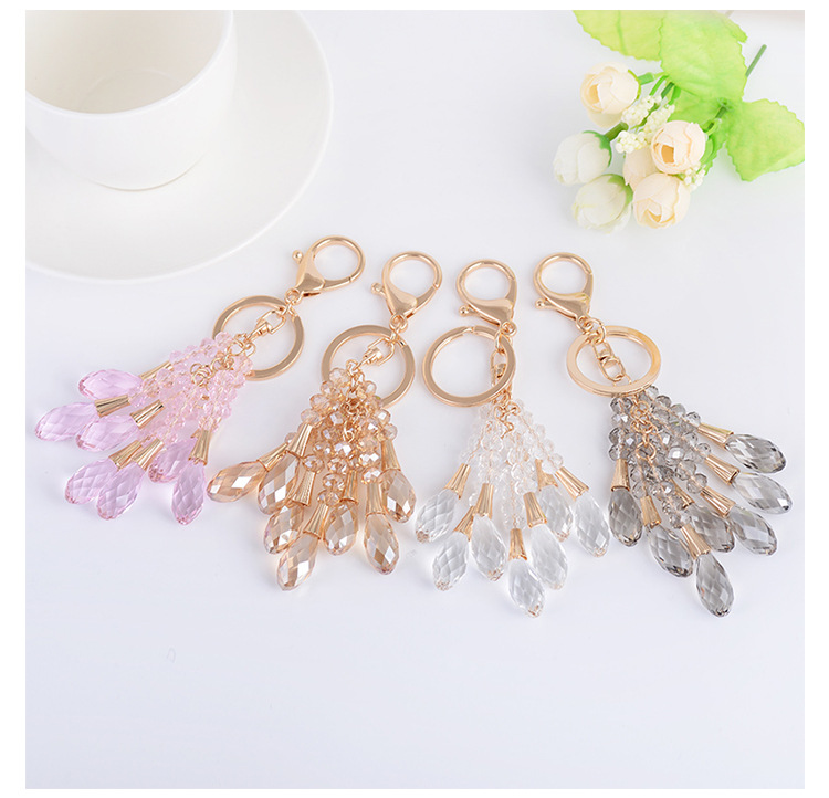 High Quality Crystal Bead Gold Key Chain Water Drop Pendant