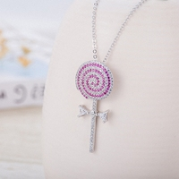 New Sale Brand TracysWing AAA Zirconia White Gold Color Fashion Round Lollipop Pendant Necklace Vintage 307222