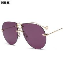 HBK Luxury Aviator font b Sunglasses b font Women Italy Brand Designer Pilot Sun glasses font