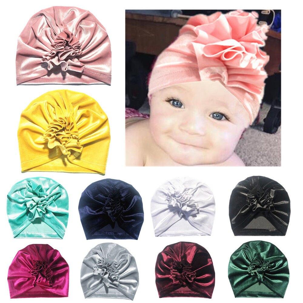 Infant  Newborn Hijab Girls Turban Beanie Cap Elastic Headwrap Baby Flower Hat