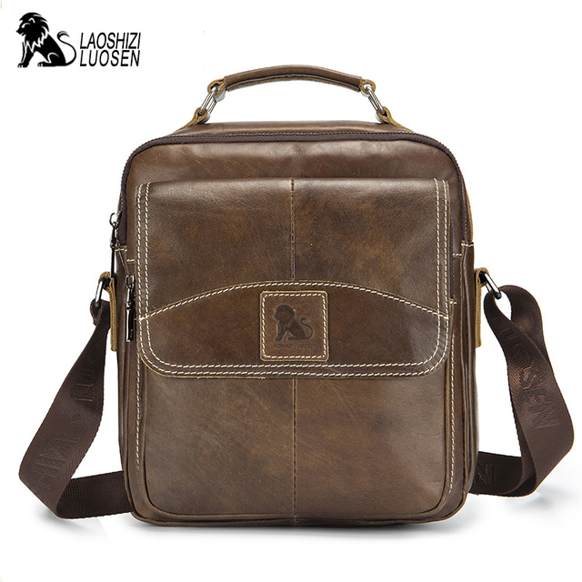 410fb3e6 Bolso bandolera de cuero genuino para hombre, bolso negocios, Vintage bolsos  hombro con cremallera sólida