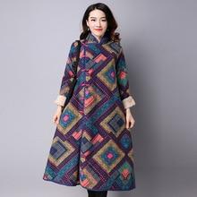 Women Winter Trench Coat New Autumn X-long Full Warm Fleece Jacket Fashion Outerwear Geometric Print Plus Coat