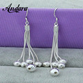 ANDARA Wholesale Silver 925 Long Earrings Women Female Models Five-Wire Beads Tassel Earrings Fashion Jewelry Accessories L139