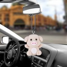 Auto Anhänger Hängen Acryl Beflockung Cartoon Nettes Schwein Jahr Geschenke Auto Innen Ornamente Dekoration Rückspiegel Auto Styling