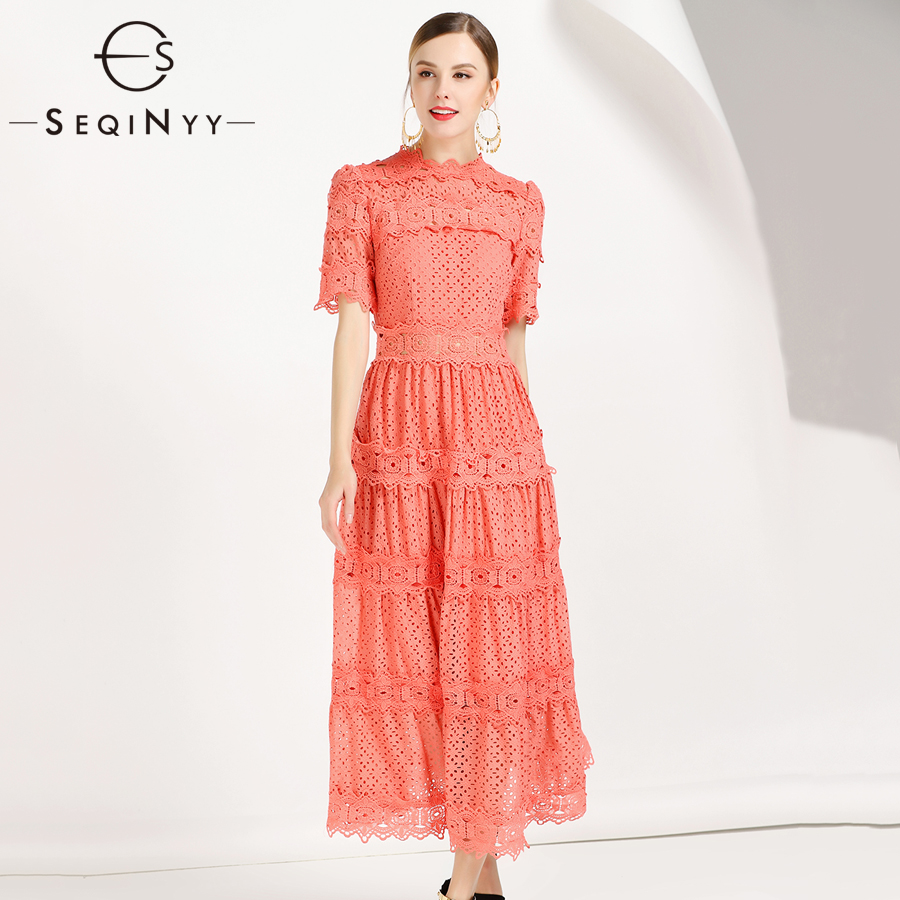 SEQINYY Lace Dresses 2019 Spring Summer Woman s New Short Sleeve Embroidery Solid Office Lady Stand