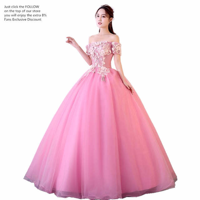 6c589d0885 placeholder ruthshen New 2018 Pink Princess Quinceanera Dresses Boat Neck Short  Sleeves Appliques Sweet 16 Quinceanera Dress
