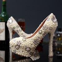 Новый Стиль Жемчужные Высокие Каблуки Женская Обувь Красивый Цветок Свадебные Свадебное Платье Обувь Горный Хрусталь Круглый Носок Женщин