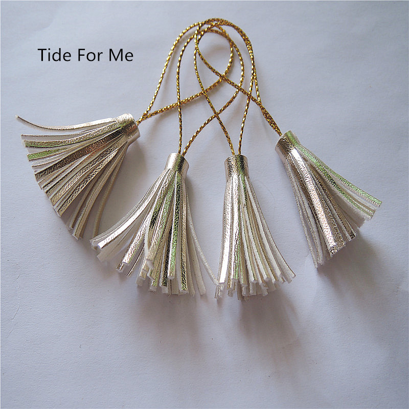 5pcs/lot new wholesale 30mm gold leather tassels with ring rope charms pendant Suede tassels for DIY findings jewelry making