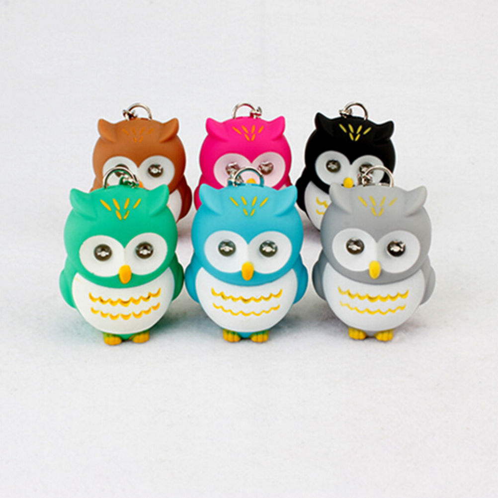 7 Colors New Cartoon Owl Design LED Keychain With Sound Flashlight Kid Gifts Figures Toy 1PCS Hot Selling