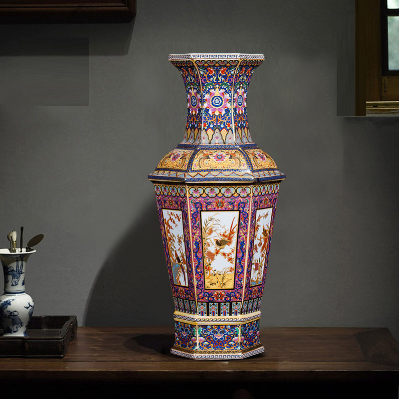Qing Yongzheng Enamel Kleurrijke Bloemen en Vogels Zeshoekige Vaas Antieke Woondecoratie Porselein Decoratie Antieke Collectie-in Vazen van Huis & Tuin op  Groep 2