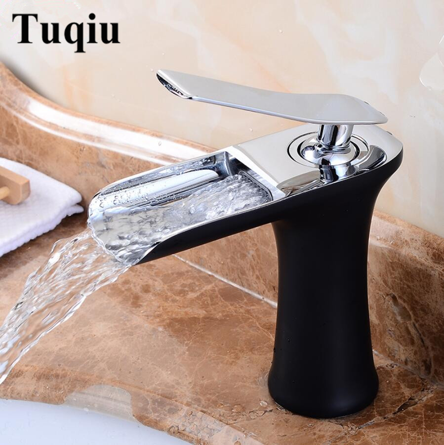 Basin Faucets Waterfall Bathroom Faucet Single handle Basin Mixer Tap Bath Antique Faucet Brass Sink Water Crane Silver Tap bathroom basin faucet waterfall spout hot cold water basin tap bath kitchen wash basin single handle sink faucets mixers