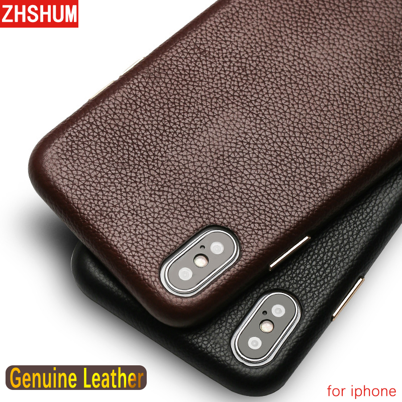 Genuine Leather Case For Iphone X 8 7 Plus XS MAX XR 6S Luxury Handmade Official Natural Skin Case Full Back Cover for Iphone 6
