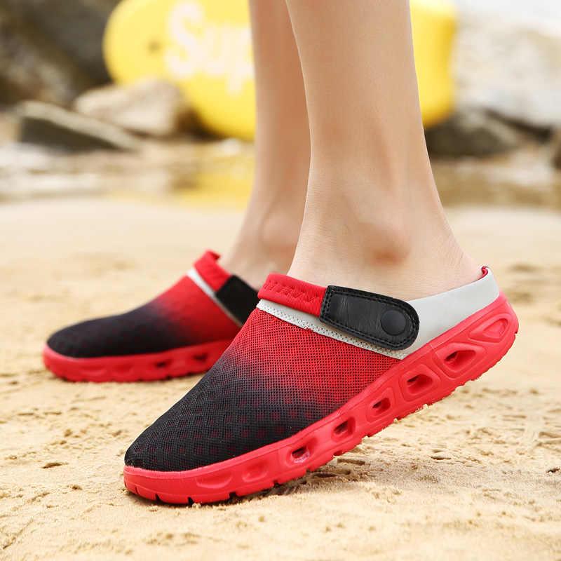GUDERIAN Örgü Yaz Ayakkabı Erkekler Nefes Terlik Sandalet Adam Açık Erkekler Takunya Plaj Erkek Ayakkabı Açık Ayakkabı Erkekler Zapato Hombre