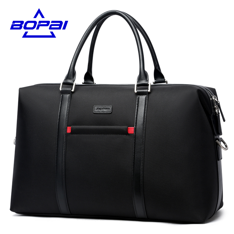 BOPAI Casual Business Men Travel Totes Black Bag Shoulder Strap Travel Bag Easy Carry On Luggage Light Weight malas de viagem