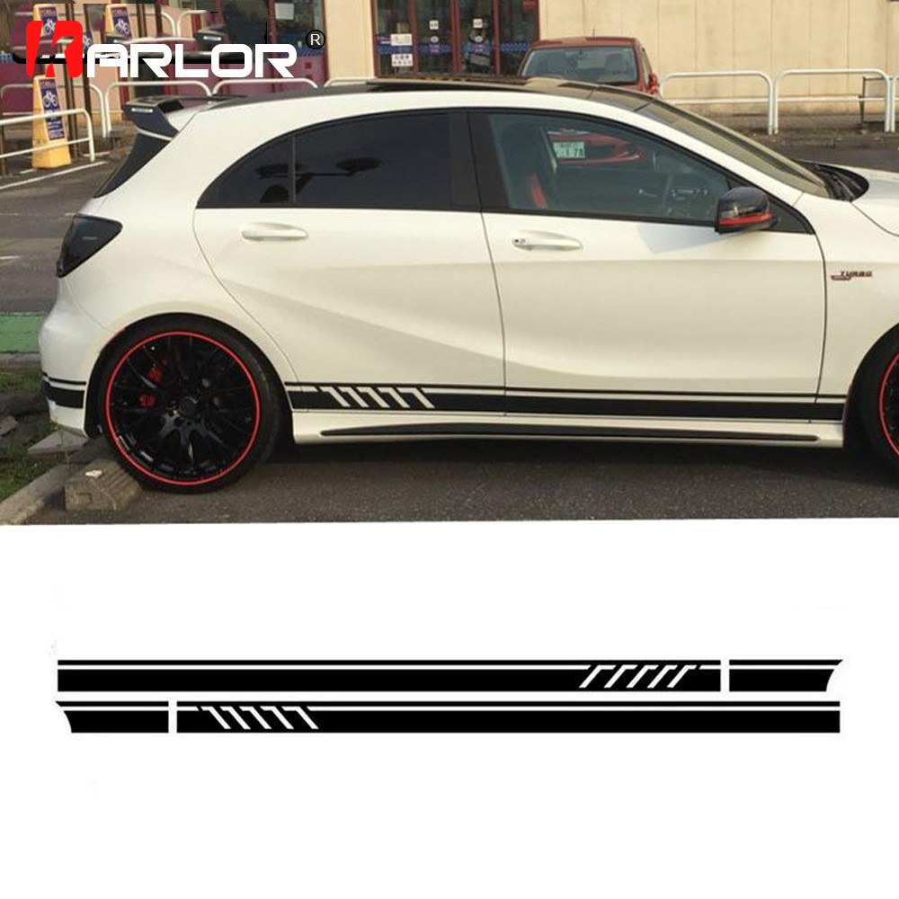 2Pcs lot Car Waist Side Skirt Stickers Decal Auto Vinyl Wrap For Mercedes Benz AMG A C Class W177 W205 W203 W204 Car Accessories