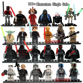 Single Sale Star Wars Minifigs darth Vader R2D2 Leia Boba Fett Clone Trooper Kylo Ren figures Blocks Building Toys