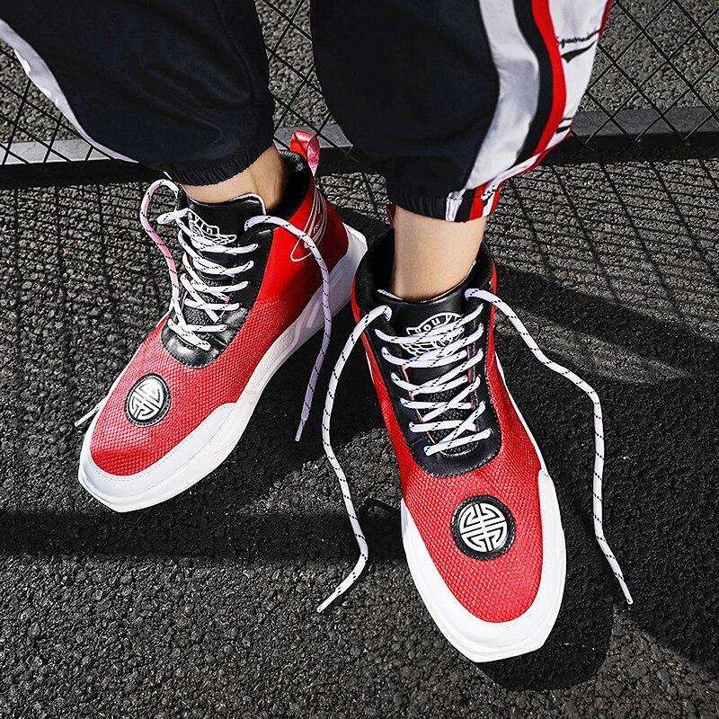 Antideslizantes Hombres Moda Otoño Marca Negro Alta Zapatos Zapatillas bw Malla Casual blanco Pisos Calidad Populares rojo Verano Transpirable De ttwpr