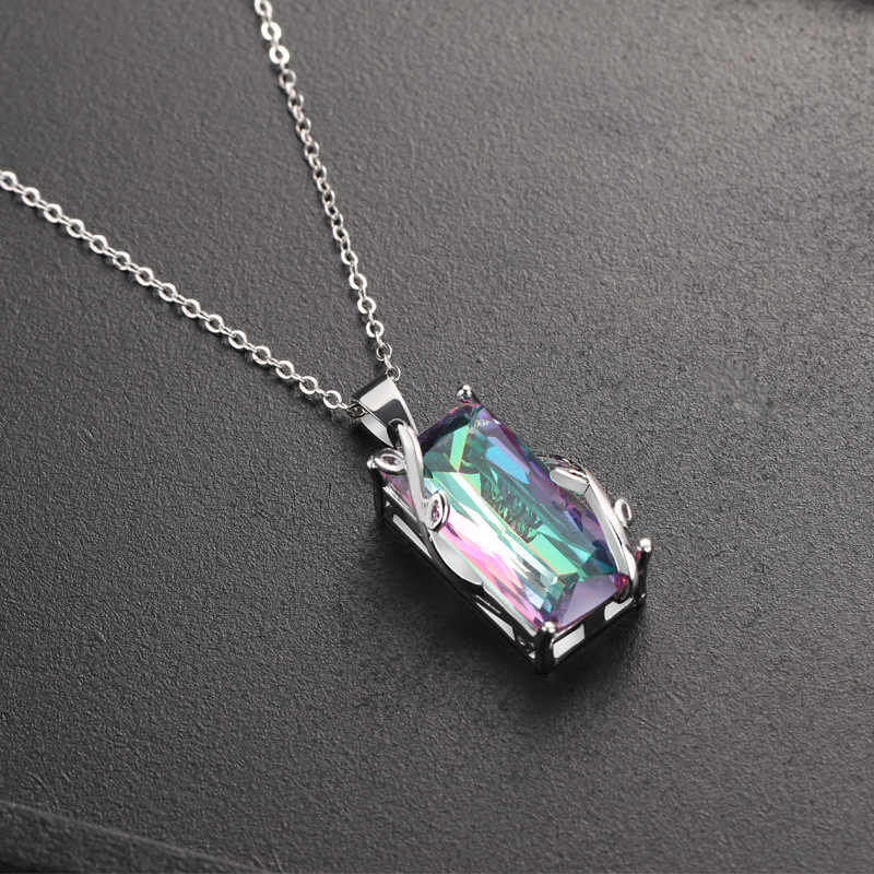 Popular flower seven rainbow tourmaline pendant European and American exaggeration topa stone leaves necklace pendant delicate