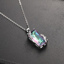 Popular flower seven rainbow tourmaline pendant European and American exaggeration topa stone leaves necklace delicate