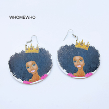 Unfinished Wood Printing Africa Black Girl Queen Princess Drop Earrings Heart Letters Wooden African Hiphop Handmade DIY Jewelry