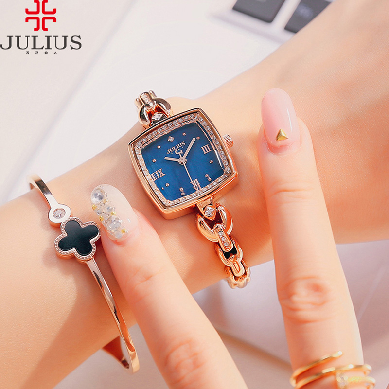 New Women's Watch Julius Japan Quartz Hours Best Fashion Dress Bracelet Shell Rhinestone Birthday Girl Christmas Gift Box 871