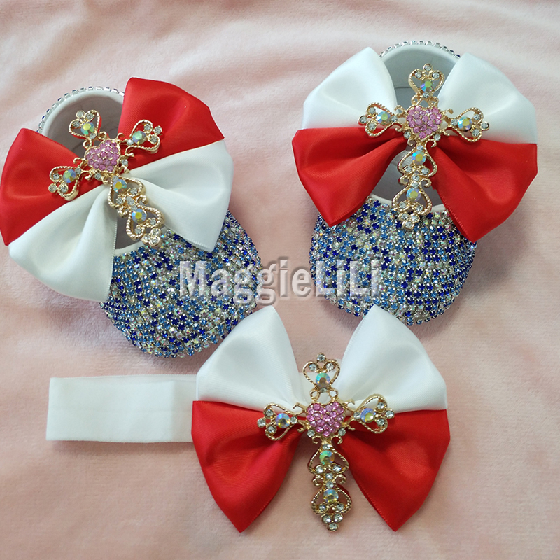 cross bowknot Custom Sparkle Bling crystals Rhinestones Baby girls shoes infant 0-1Y ribbon shoes First Walkers hairband 0025