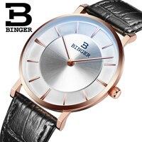 Isviçre BINGER erkekler saatler lüks marka kuvars deri kayış ultrathin saatı su geçirmez 1 yıl garanti B9013-4