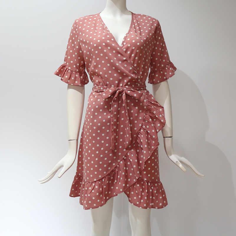 2019 новое летнее платье женское повседневное пляжное платье с v-образным вырезом и рукавом-бабочкой модное мини-сарафан большого размера женщина 2XL