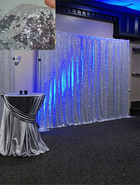 Silver Sequin Backdrop 8x8ft Romatic Curtain For Wedding Photo Booth Shimmer Fabric Linens