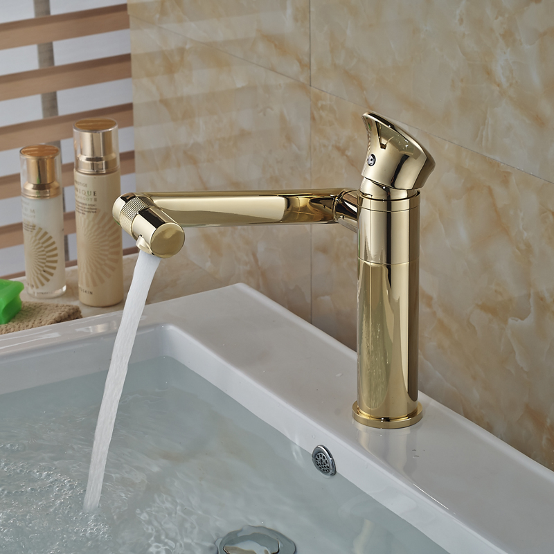 Golden Luxury Basin Sink Faucet Tap Single Handle Brass One Hole Bathroom Vessel Sink Mixer Faucet