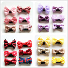 New design Baby Mini handmade Cloth Bowknot Hair Clips Kids with Little born Girls Accessories Hairpins J19