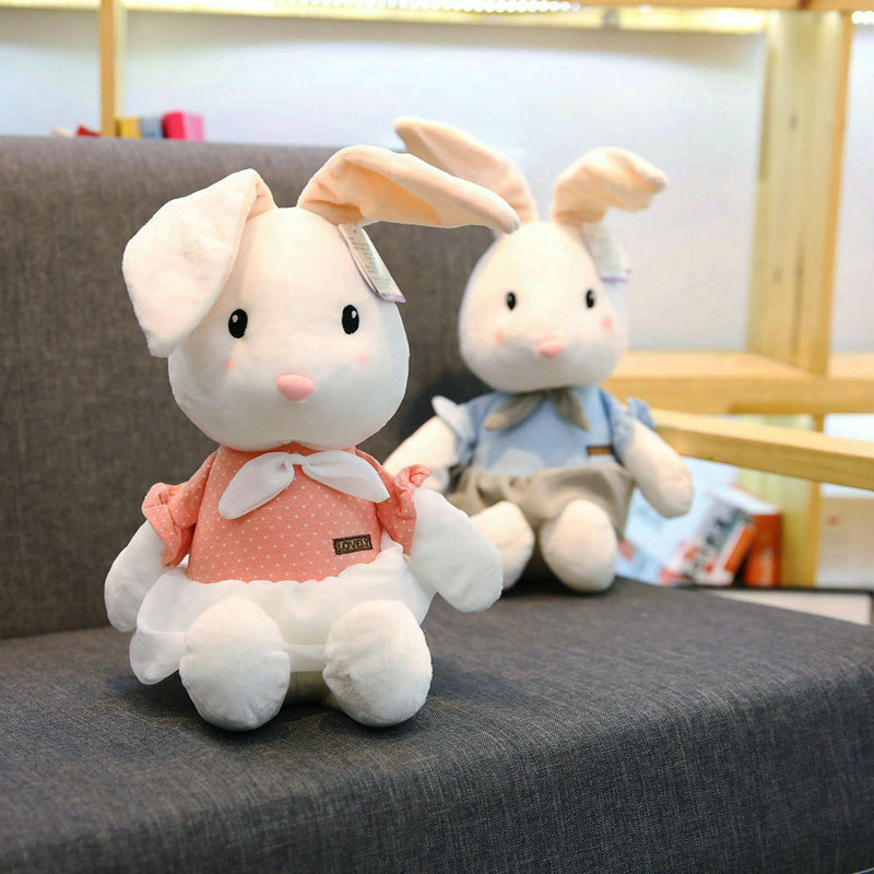 BNWT Small 25cm Personalised Christmas Easter Pink White Bunny Stuffed Plush Toy