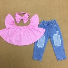 3PCS Sets Baby Girls Clothing Set Girls Clothes Summer Short Sleeve T Shirt +Denim Long Holes Pant+Bowknot Headwear Princess