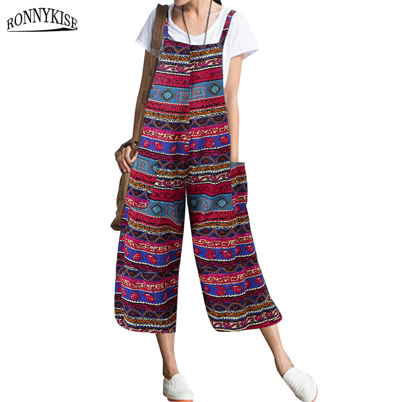 RONNYKISE Famous Costume Printed Jumpsuits Womens Fashion Cotton And Linen Overalls With Pockets Summer Autumn Wide Leg Jumpers