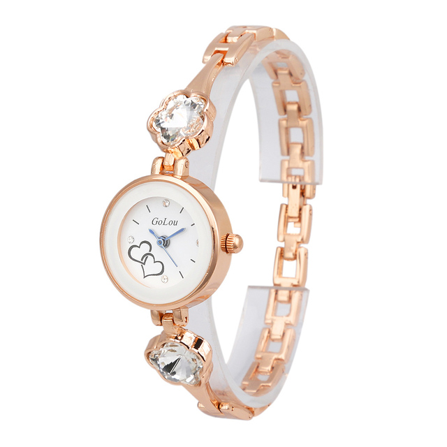 Hot Sales Rose Gold Heart Bracelet Watch Women Ladies Crystal Dress Quartz Wrist
