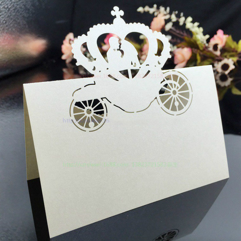 100Pcs Laser Cut Party Invitation Decorations Table Cards Cinderella