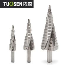 цена на HSS 4241 HSS spiral flute step Drill Bit Set core drill bit cone Step Drill Bit Set hole cutter