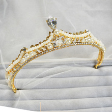 Luxurious Zircon Tiara Crystal Simulated Pearl hair Jewelry Crown Girls Prom Pageant Rhinestone Diadem Hair Accessories