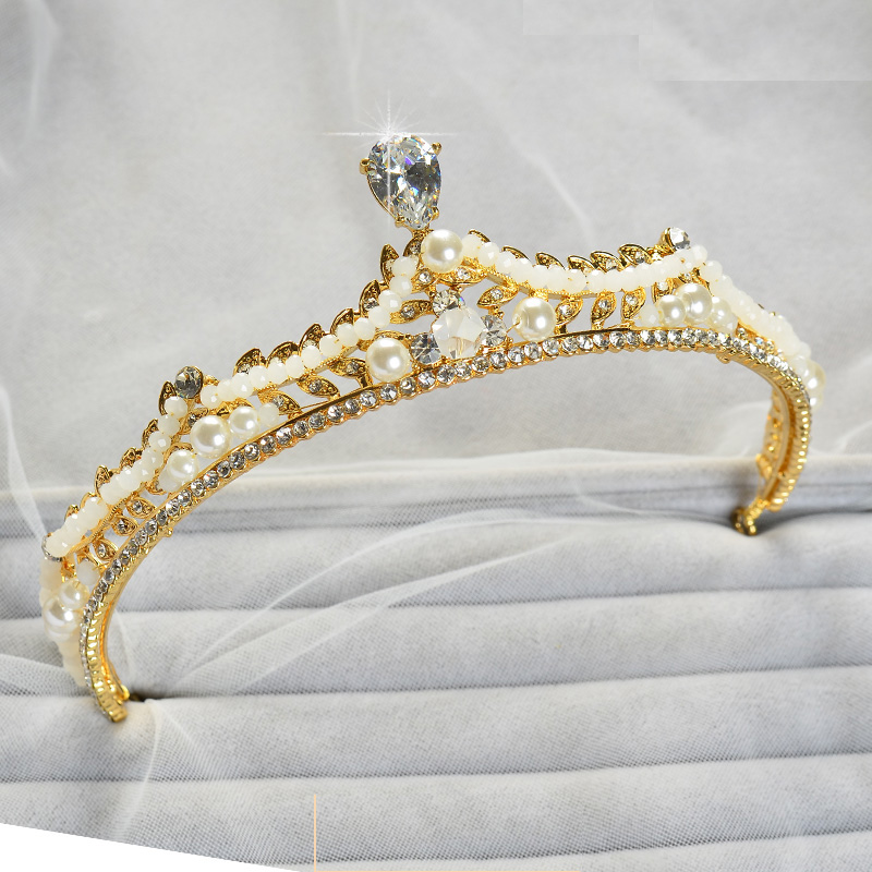 Luxurious Zircon Tiara Crystal Simulated Pearl hair font b Jewelry b font Crown Girls Prom Pageant