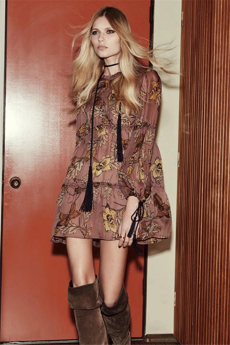 women dress Autumn winter long sleeve ruffle chiffon dress Vintage loose short dress Boho floral print tassel vestidos 11
