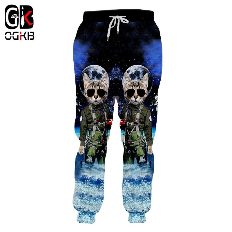 OGKB Spring New Sweatpants Men Jogger Pants Hot Loose 3D Printed Blue Shark Casual Big Size Garment Man Harem Pants
