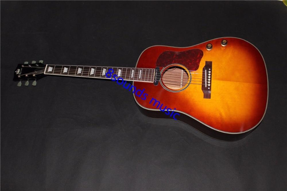 Livraison gratuite J160 vintage burst guitare acoustique 160e bois massif top Byron acoustique électrique guitare