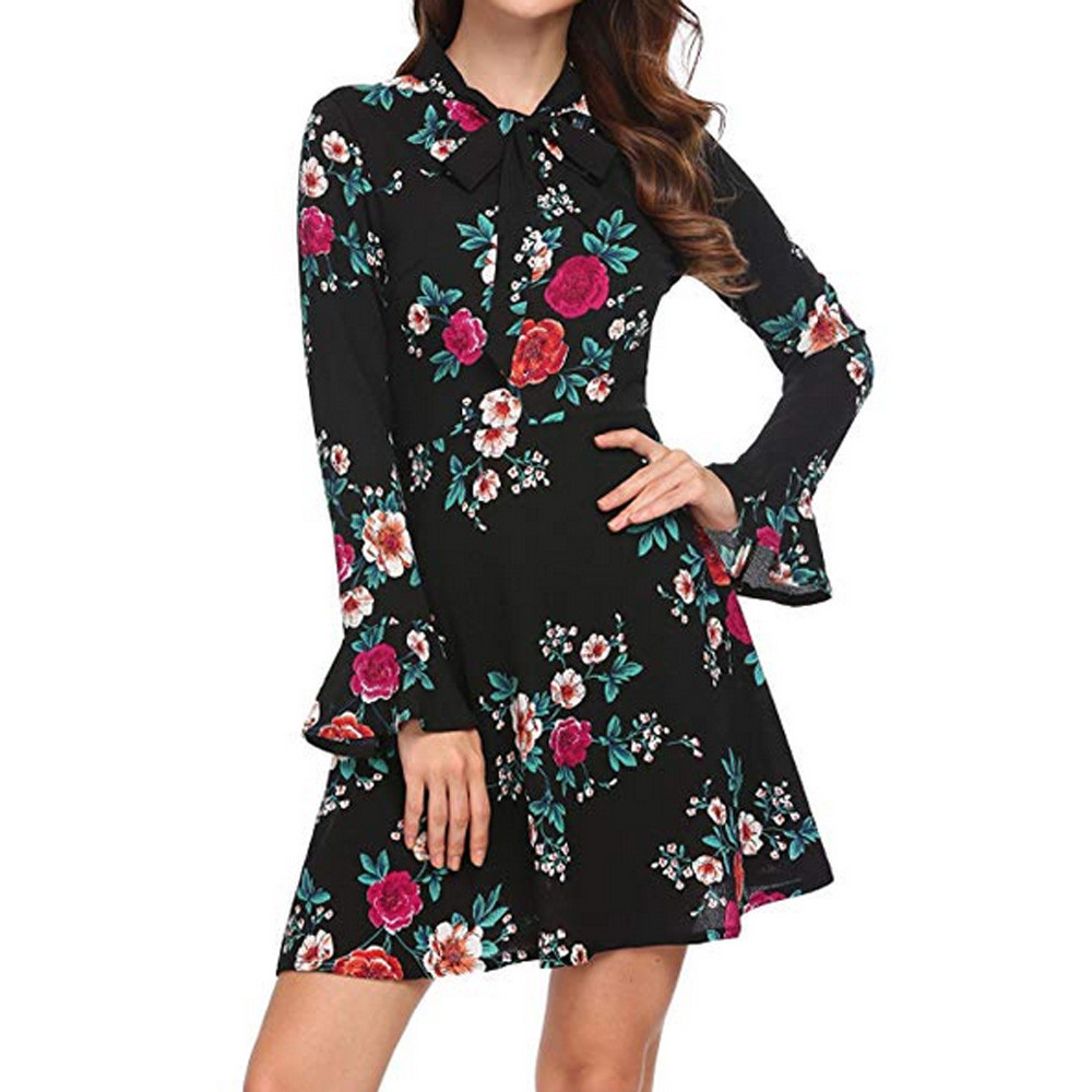 Mini Bow Neck Elegant Dress Women Floral Summer Long Sleeve Evenning Dresses Marvelous OL ladies bohemian Vestidos Chiffon Dress floral chiffon dress long sleeve